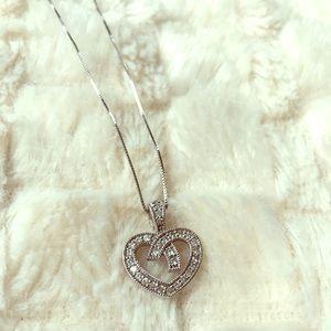 Jewelry - 14K White Gold Diamond Heart Necklace